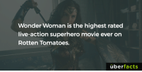 http://news.nationalpost.com/arts/movies/wonder-woman-is-the-highest-rated-superhero-movie-ever-on-rotten-tomatoes: Wonder Woman is the highest rated  live-action superhero movie ever on  Rotten Tomatoes.  uber  facts http://news.nationalpost.com/arts/movies/wonder-woman-is-the-highest-rated-superhero-movie-ever-on-rotten-tomatoes