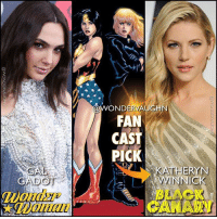 Memes, Scream, and Queen: WONDERVAUGH  FAN  CAST  PICK  KATHERYN  BACI  CANA  (Woman CASTING THE DCEU's SCREAM QUEEN! My pick for Dinah Lance is @katherynwinnick *** A master hand-to-hand martial arts combatant with Muay Thai and Judo being the most notable of her style, Dinah has been trained by other top-tier fighters in the DC Universe. She is also an expert motorcyclist, gymnast, covert operative, and investigator. * The Canary Cry is Dinah's Metahuman ability which allows her to create ultrasonic vibrations whenever she screams. It causes severe damage to most objects, making it equivalent to a sonic weapon. It is capable of breaking metals and shattering the Earth. She is also able to glide and propel herself across long distances by screaming downwards. * One day she will join @gal_gadot's Wonder Woman on the Justice League team! *** mywonderwoman girlpower women femaleempowerment MulherMaravilha MujerMaravilla galgadot unitetheleague princessdiana dianaprince amazons amazonwarrior manofsteel thedarkknight katherynwinnick vikings blackcanary sdcc comiccon canarycry