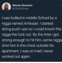 School, Ups, and Fuck: Wonny Giovanni  @ChakaSwan  I was bullied in middle School by a  nigga named Antwaan. I started  doing push-ups so i could knock this  nigga the fuck out. By the time i got  strong enough to hit him, some nigga  shot him in the chest outside his  apartment. I was so mad i never  worked out again. Top 10 nigga betrayals