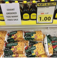 <p>Good-guy Grant, looking out for the rest of us.</p>: WON'T BE BEAT  CAVENDISH FRIES  GRANT  ORDERED  SAVE 1.27  gin TOO MANY  original  original  1.00  FRIES SALE  ENDISH  EN DIS  CAVENDISH  inkle Cut  AVEI  Cüt  オ.  Cut  inkle c  Cou <p>Good-guy Grant, looking out for the rest of us.</p>