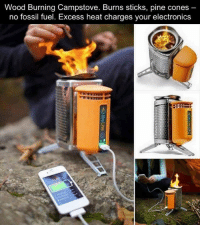 Coneing: Wood Burning Campstove. Burns sticks, pine cones  no fossil fuel. Excess heat charges your electronics