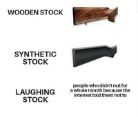Soldiers, Brave, and Dank Memes: WOODEN STOCK  SYNTHETIC  STOCK  people who didn't nut for  LAUGHING  STOCK  a whole month because the  intemet told them not to Bless these brave soldiers
