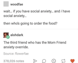 Food, Anxiety, and Restaurant: woodfae  wait... if you have social anxiety... and i have  social anxiety  then who's going to order the food?  alohdark  The third friend who has the Mom Friend  anxiety override.  Source: flowerfae  378,026 notes D Whenever Im at a restaurant with someone