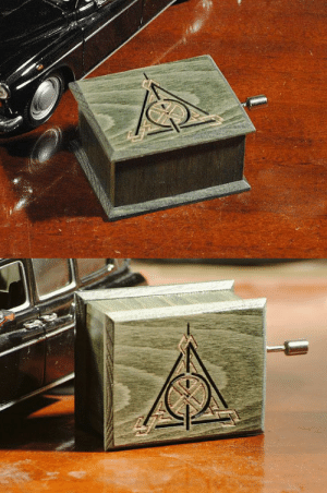 Harry Potter, Music, and Tumblr: woodissimo:Harry Potter Deathly Hallows music box oil green - soundtrack and design inspired handmade wooden music box https://www.etsy.com/shop/woodissimo