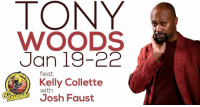 """Memes, Banana, and 🤖: WOODS  Jan 19-22  feat.  Kelly Collette  with  Josh Faust He's here! Six chances to catch the legendary Tony Woods between now and Sunday. Only at Go Bananas! Get a deal on tickets with promo code """"JOKELAHOMA"""". Visit our website to reserve your spot now!"""
