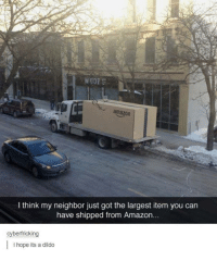Amazon, Dildo, and Humans of Tumblr: WOOF  amazon  I think my neighbor just got the largest item you can  have shipped from Amazon...  cyberfricking  i hope its a dildo