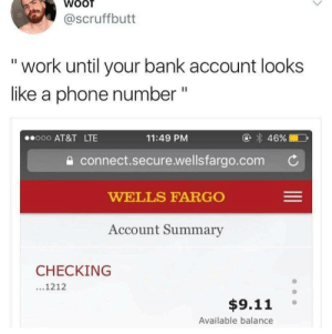 bank account: WOOT  @Scruffbutt  work until your bank account looks  like a phone number  II  46%  o00 AT&T LTE  11:49 PM  connect.secure.wellsfargo.com  WELLS FARGO  Account Summary  CHECKING  ...1212  $9.11  Available balance