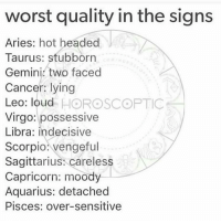 possessive: wor  st quality in the sig  ns  Aries: hot headed  Taurus: stubborrn  Gemini. two faced  Cancer: lying  Leo: loud HOROSCOPTIC  Virgo: possessive  Libra: indecisive  Scorpio: vengeful  Sagittarius: careless  Capricorn: moody  Aquarius: detached  Pisces: over-sensitive