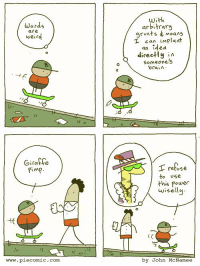 Someone posted that they wanted to see more giraffe pimp... your wish is our command!: Words  are  with  arbitraru  grunts moans  runts Moans  can iMPIa  工 can implant  an ided  direetly A  Someone's  brain  0  2 1  t (  Giraffe  retose  to use  this Power  wisellu  10  www.piecomic. com  by John McNamee Someone posted that they wanted to see more giraffe pimp... your wish is our command!