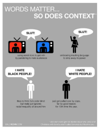 """Retarded, Shit, and Tumblr: WORDS MATTER  SO DOES CONTEXT  SLUT!  SLUT!  using sexist slurs to get rich  by pandering to male audiences  embracing insulting language  to strip away its power  I HATE  BLACK PEOPLE!  I HATE  WHITE PEOPLE!  likes to think he's color blind  but really just ignores  racial inequality all around him  just got pulled over by cops.  for no good reason.  for 10th time this year  and don't even get me started about why Jews and  SALLYKOHN.COM  Christians with bombs aren't called terrorists but Muslims are <p><a href=""""http://fakepalestine.tumblr.com/post/162417805178/cisnowflake-so-pretty-much-youll-apply-any"""" class=""""tumblr_blog"""">fakepalestine</a>:</p>  <blockquote><p><a href=""""http://cisnowflake.tumblr.com/post/162417778881/so-pretty-much-youll-apply-any-context-you-want"""" class=""""tumblr_blog"""">cisnowflake</a>:</p>  <blockquote><p>So pretty much you'll apply any context you want to the situation in order to support your worldview? Gotcha! This totally isn't just an excuse for you to exercise whatever double standards you'd like.</p></blockquote>  <p>Uuuuhhhh no there's no """"context"""" when you say you hate a certain race. Miss me with that retarded shit.</p></blockquote>  <p>OH MY FRACK</p>"""