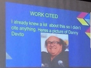 School, Work, and Best: WORK CITED  I already knew a lot about this so l didn't  cite anything, Heres a picture of Danny  Devito Best school project ever.