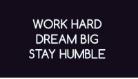 Memes, Work, and Humble: WORK HARD  DREAM BIG  STAY HUMBLE https://t.co/NJDcrJ1zZ1