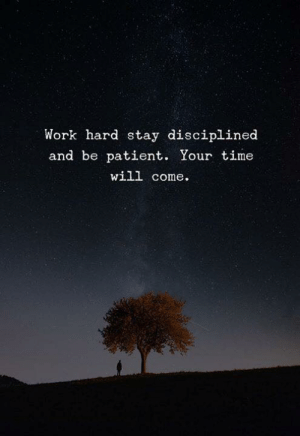 Work, Patient, and Time: Work hard stay disciplined  and be patient. Your time  will come