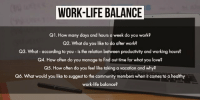 Community, Life, and Love: WORK-LIFE BALANCE  QI, How many days and hours a week do you work?  Q2. What do you like to do after work?  Q3. What - according to you - is the relation between productivity and working hours?  Q4. How often do you manage to find out time for what you love?  Q5. How often do you feel like taking a vacation and why?  Q6. What would you like to suggest to the community members when it comes to a healthy  work-life balance? Here's a sneak-peek into the questions for today's #cfchat 😎 Topic - Work-life Balance ✨ [4:00pm AEST/ 11:30am IST] https://t.co/5ux5mKQ0nP