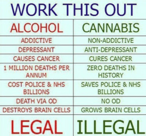Police, Zero, and Work: WORK THIS OUT  ALCOHOL I CANNABIS  ADDICTIVE  DEPRESSANT  CAUSES CANCER  NON-ADDICTIVE  ANTI-DEPRESSANT  CURES CANCER  ZERO DEATHS IN  HISTORY  1 MILLION DEATHS PERZ  ANNUM  COST POLICE & NHS SAVES POLICE & NHS  BILLIONS  DEATH VIA OD  BILLIONS  NO OD  DESTROYS BRAIN CELLS GROWS BRAIN CELLS  LEGAL ILLEGAL