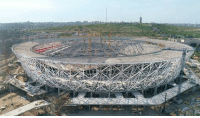 Fifa, Memes, and Russia: Workers at the Volgograd Arena construction site have lifted the roof's tensile cable structure to its highest point: 49.5 metres. Now the roof's membrane covering, which measures 77,000 squared metres in total, is being erected at the venue, where four 2018 FIFA WorldCup matches will be played. Russia