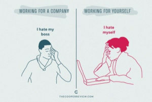 Working, Company, and Com: WORKING FOR A COMPANY WORKING FOR YOURSELF  I hate my  boss  I hate  myself  THECOOPERREVIEW.COM Working for a Company vs Yourself