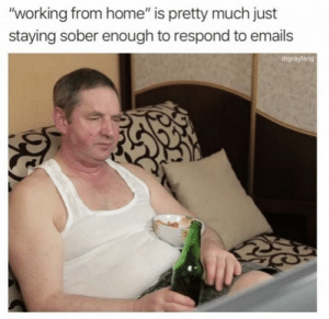"""working from home: """"working from home"""" is pretty much just  staying sober enough to respond to emails  drgrayfang"""