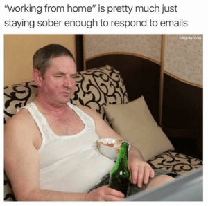 "42 Pictures Guaranteed To Make You Laugh Every Time - JustViral.Net: ""working from home"" is pretty much just  staying sober enough to respond to emails  drgrayfang 42 Pictures Guaranteed To Make You Laugh Every Time - JustViral.Net"