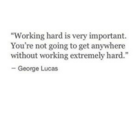 "George Lucas, Working, and Lucas: ""Working hard is very important.  You're not going to get anywhere  without working extremely hard.""  -George Lucas"