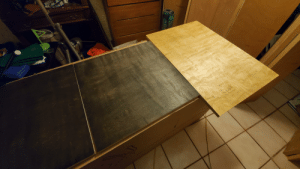 Working on part 2 of my desk. It's a big 2 part L-shaped desk for my room. I just stained the parts and will assemble tomorrow is the part that will have my tower rest on top of and maybe a mini fridge underneath. Will post a assembled and side by side photo of my whole desk when done tomorrow.: Working on part 2 of my desk. It's a big 2 part L-shaped desk for my room. I just stained the parts and will assemble tomorrow is the part that will have my tower rest on top of and maybe a mini fridge underneath. Will post a assembled and side by side photo of my whole desk when done tomorrow.