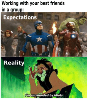 A meme my teacher showed during her presentation: Working with your best friends  in a group:  Expectations  Reality  m surrounded by idiots. A meme my teacher showed during her presentation