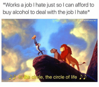 Funny, Life, and Memes: *Works a job I hate just so l can afford to  buy alcohol to deal with the job l hate*  @StupidResumes  nthe circle, the circle of life Follow @stupidresumes for the realest memes ever😂😂🙌🏻🔥