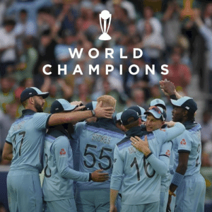 ENGLAND WIN THE CRICKET WORLD CUP!!!!!!  Incredible performance 👏👏👏👏: WORLD  CHAMPI ONS  STOKES  55  MON  46 ENGLAND WIN THE CRICKET WORLD CUP!!!!!!  Incredible performance 👏👏👏👏