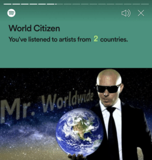 Yeah, I guess you can call me a global citizen.: World Citizen  You've listened to artists from 2 countries.  Mr. Worldwidi Yeah, I guess you can call me a global citizen.