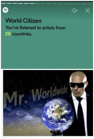 They call me Mr Worldwide: World Citizen  You've listened to artists from  26 countries.  Mr. Worldwice They call me Mr Worldwide