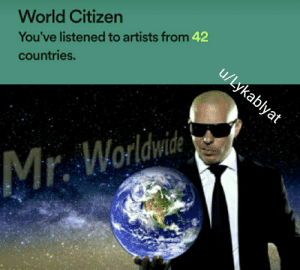 I can't name that many countries.: World Citizen  You've listened to artists from 42  u/Lykablyat  countries.  Mr. Worldwite I can't name that many countries.