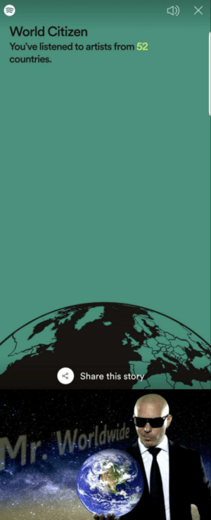 Spotify rewind 2019: World Citizen  You've listened to artists from 52  countries.  Share this störy  Mr. Worldwide Spotify rewind 2019