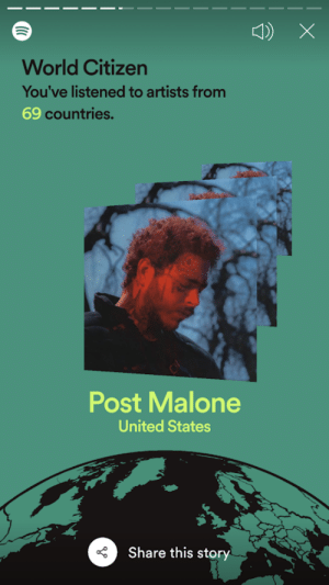Real Nice, thanks Spotify: World Citizen  You've listened to artists from  69 countries.  12  Post Malone  United States  Share this story Real Nice, thanks Spotify