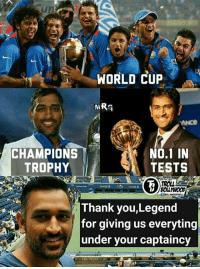 You will be Missed as Captain !!  m.R.g: WORLD CUP  NO.1 IN  CHAMPIONS  TESTS  TROPHY  CHASE O  CHASEO  Thank you,Legend  for giving us everyting  under your captaincy You will be Missed as Captain !!  m.R.g