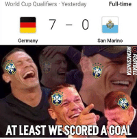 Memes, World Cup, and Brazil: World Cup Qualifiers Yesterday  Full-time  San Marino  Germany  AT LEAST WESCOREDAGOAL Brazil fans trying to make themselves feel good like... 😂 WorldCup