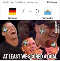 Memes, World Cup, and Germany: World Cup Qualifiers Yesterday  Full-time  San Marino  Germany  AT LEAST WESCOREDAGOAL This.....😂