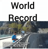 Memes, Australia, and Record: World  ecord  28-year-old Derek Herron from  Perth Australia has just set  NEWS  a Guinness World Record Australian man sets WorldRecord for making this shot 🇦🇺(ABCNews) DerekHerron