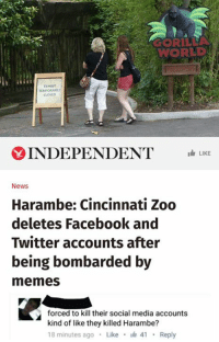 Facebook, Meme, and Memes: WORLD  INDEPENDENT  LIKE  News  Harambe: Cincinnati Zoo  deletes Facebook and  Twitter accounts after  being bombarded by  memes  forced to kill their social media accounts  kind of like they killed Harambe?  18 minutes ago  Like  I 41  Reply