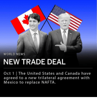 "Cars, Donald Trump, and Memes: WORLD NEWS  NEW TRADE DEAL  Oct 1 | The United States and Canada have  agreed to a new trilateral agreement with  Mexico to replace NAFTA The United States, and Canada have agreed to a new trilateral agreement with Mexico to replace NAFTA. President Donald Trump and Canadian Prime Minister Justin Trudeau agreed to the new pact, called the U.S.-Mexico-Canada Agreement (USMCA), Sunday night. The rewritten agreement is a victory for Trump who, during his 2016 campaign, promised a revised version of NAFTA. Under the new deal, U.S. farmers will be allowed to increase dairy exports to Canada and a higher percentage of cars must be manufactured in the U.S. ___ Trump released a statement about the deal to Twitter Monday morning. ""Late last night, our deadline, we reached a wonderful new Trade Deal with Canada, to be added into the deal already reached with Mexico. The new name will be The United States Mexico Canada Agreement, or USMCA,"" the tweet read. ""It is a great deal for all three countries, solves the many deficiencies and mistakes in NAFTA, greatly opens markets to our Farmers and Manufacturers, reduces Trade Barriers to the U.S. and will bring all three Great Nations together in competition with the rest of the world. The USMCA is a historic transaction!"""