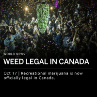 "Memes, News, and Weed: WORLD NEWS  WEED LEGAL IN CANADA  Oct 17 | Recreational marijuana is now  officially legal in Canada Recreational marijuana is now legal in Canada after the Cannabis Act was passed in June. The law permits those over 18 years old to possess less than 30 grams of marijuana. Canadian citizens are also allowed to grow up to four marijuana plants in their residence and purchase from regulated retailers in their province. ___ Canadian officials are working on legislation to provide pardons to citizens convicted of minor possession charges. Before the new law was put in place, possession of marijuana could result in six months in prison and fines up to $1,000. ___ Cannabis edibles will not be legal for another year. ___ Photo: Canadians celebrate and watch the ""bud drop"" at a concert hall in Toronto (Ian Willms-Getty Images)."