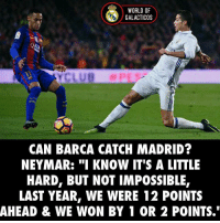 "Can Barcelona reach RealMadrid in Laliga❓🤔 🅰️ Yes 🅱️ No: WORLD OF  GALACTICOS  CAN BARCA CATCH MADRID?  NEYMAR: ""I KNOW IT'S A LITTLE  HARD, BUT NOT IMPOSSIBLE,  LAST YEAR, WE WERE 12 POINTS  AHEAD & WE WON BY 1 OR 2 POINTS."" Can Barcelona reach RealMadrid in Laliga❓🤔 🅰️ Yes 🅱️ No"