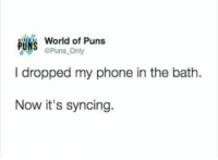 Puntastic: World of Puns  PUN  @Puns Only  I dropped my phone in the bath.  Now it's syncing. Puntastic