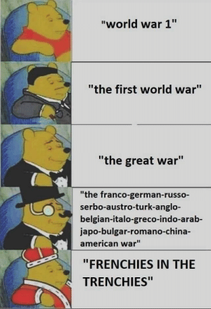 "Pooh ww1 meme: ""world war 1""  ""the first world war""  ""the great war""  ""the franco-german-russo-  serbo-austro-turk-anglo-  belgian-italo-greco-indo-arab-  japo-bulgar-romano-ch  american war""  ""FRENCHIES IN THE  TRENCHIES"" Pooh ww1 meme"
