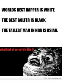 best rappers: WORLDS BEST RAPPER IS WHITE,  THE BEST GOLFERIS BLACK.  THE TALLEST MAN IN NBAISASIAN.  What kind of Sorceryis this  WHO IS MR. DANANLOL?