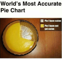That's 100% accurate! 🤓🍰: World's Most Accurate  Pie Chart  ,1 Piel have eaten  Pie Ihave not  yet eaten That's 100% accurate! 🤓🍰