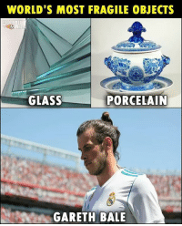 Gareth Bale, Memes, and 🤖: WORLD'S MOST FRAGILE OBJECTS  GLASS  PORCELAIN  GARETH BALE Gareth Bale gets injured again...