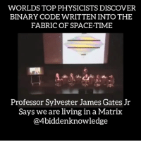 "Dr. SylvesterJamesGates, Jr., a theoreticalphysicist, the John S. Toll Professor of Physics at the UniversityofMaryland, and the Director of The Center for StringTheory & ParticleTheory, is reporting that certain string theory, supersymmetrical equations, which describe the fundamental nature of the Universe and reality, contain embedded computer codes. These codes are digital data in the form of 1′s and 0′s. Not only that, these codes are the same as what make web browsers work and are error-correction codes! Gates says, ""We have no idea what these 'things' are doing there"". Physicists have long sought to describe the universe in terms of equations. Now, James Gates explains how research on a class of geometric symbols known as adinkras could lead to fresh insights into the theory of supersymmetry — and perhaps even the very nature of reality.This unsuspected connection suggests that these codes may be ubiquitous in nature, and could even be embedded in the essence of reality. If this is the case, we might have something in common with the Matrix science-fiction films, which depict a world where everything human beings experience is the product of a virtual-reality-generating computer network. The world's top leading physicists now all concur that we may be in a Quantum fractal HolographicUniverse created by a ancestor civilization from a higher dimension. We may be living in a nested reality. Adinkra symbols are a graphical representation of supersymmetric algebras taught by the AshantiEmpire of Africa since ancient times. Our ancestors already knew of the holographic nature of the universe. 4biddenknowledge FULL VIDEO ON MY YOUTUBE CHANNEL ""TheForbiddenknowledge"": WORLDS TOP PHYSICISTS DISCOVER  BINARY CODE WRITTEN INTOTHE  FABRIC OF SPACE TIME  Professor Sylvester James Gates Jr  Says we are living in a Matrix  @4biddenknowledge Dr. SylvesterJamesGates, Jr., a theoreticalphysicist, the John S. Toll Professor of Physics at the UniversityofMaryland, and the Director of The Center for StringTheory & ParticleTheory, is reporting that certain string theory, supersymmetrical equations, which describe the fundamental nature of the Universe and reality, contain embedded computer codes. These codes are digital data in the form of 1′s and 0′s. Not only that, these codes are the same as what make web browsers work and are error-correction codes! Gates says, ""We have no idea what these 'things' are doing there"". Physicists have long sought to describe the universe in terms of equations. Now, James Gates explains how research on a class of geometric symbols known as adinkras could lead to fresh insights into the theory of supersymmetry — and perhaps even the very nature of reality.This unsuspected connection suggests that these codes may be ubiquitous in nature, and could even be embedded in the essence of reality. If this is the case, we might have something in common with the Matrix science-fiction films, which depict a world where everything human beings experience is the product of a virtual-reality-generating computer network. The world's top leading physicists now all concur that we may be in a Quantum fractal HolographicUniverse created by a ancestor civilization from a higher dimension. We may be living in a nested reality. Adinkra symbols are a graphical representation of supersymmetric algebras taught by the AshantiEmpire of Africa since ancient times. Our ancestors already knew of the holographic nature of the universe. 4biddenknowledge FULL VIDEO ON MY YOUTUBE CHANNEL ""TheForbiddenknowledge"""