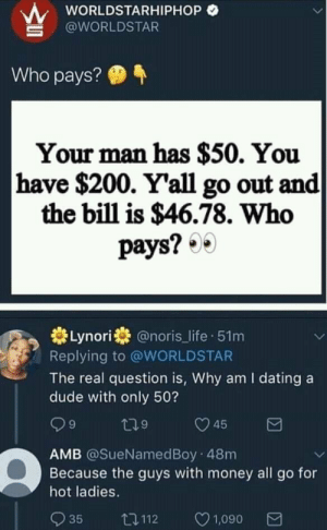 Anime, Bailey Jay, and Dank: wORLDSTARHIPHOP O  @WORLDSTAR  Who pays?  Your man has $50. You  have $200. Y'all go out and  the bill is $46.78. Who  pays? 0  券Lynori券@noris_life-51 m  Replying to @WORLDSTAR  The real question is, Why am I dating a  dude with only 50?  9  9  AMB @SueNamedBoy 48m  Because the guys with money all go for  hot ladies.  035 112 ㅇ1,090 Top 10 anime comebacks by redonehabib MORE MEMES