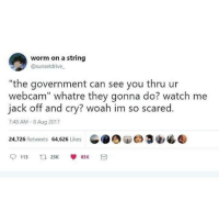 "Funny, Watch Me, and Watch: worm on a string  @sunsetdrive  ""the government can see you thru ur  webcam"" whatre they gonna do? watch me  jack off and cry? woah im so scared.  7:48 AM-8 Aug 2017  24,726 Retweets 64,626 Likes  .OOd 33ツ  113 ta 25K 雙65K 3 ¯\_(ツ)_-¯"