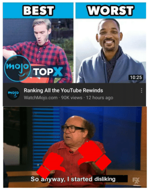 Yea I know, its rewind time: WORST  BEST  moj TOP  10:25  Ranking All the YouTube Rewinds  mojo  WatchMojo.com · 90K views · 12 hours ago  So anyway, started disliking Yea I know, its rewind time